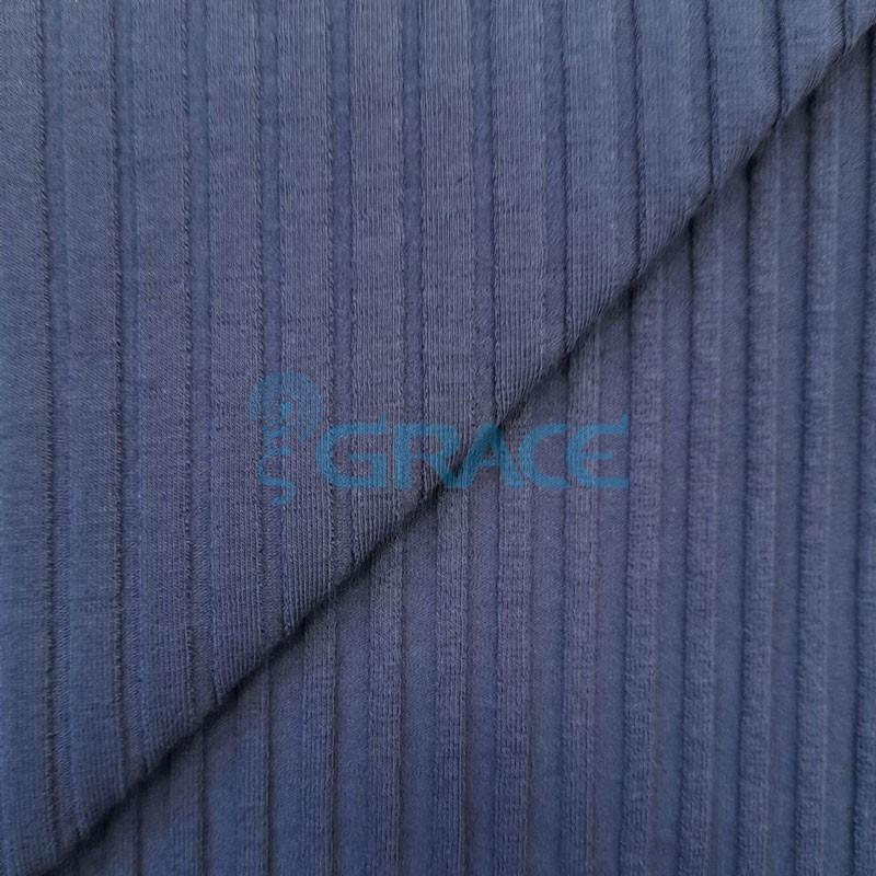 Ткань лапша - натуральная трикотажная, эластичная в синем цвете с полосками