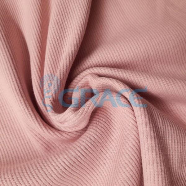 Рибана - ткань хлопковая трикотажная, с рубчиком в розовом цвете