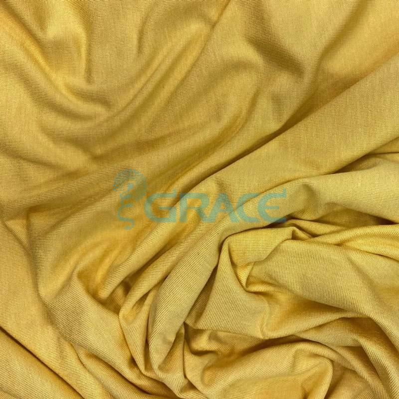 Вискоза - ткань натуральная трикотажная, эластичная в желтом цвете