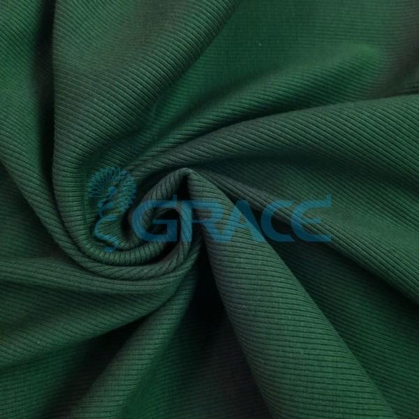 Рибана - ткань хлопковая трикотажная, с рубчиком в темно-зеленом цвете