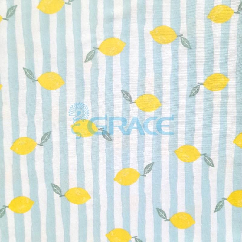 Кулирка - ткань хлопковая трикотажная, белый фон, лимон на голубых полосах