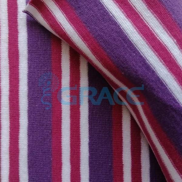 Кулирка MSL 1205 - ткань хлопковая трикотажная, в полоску 3 цвета: фиолетовый, малиновый, белый