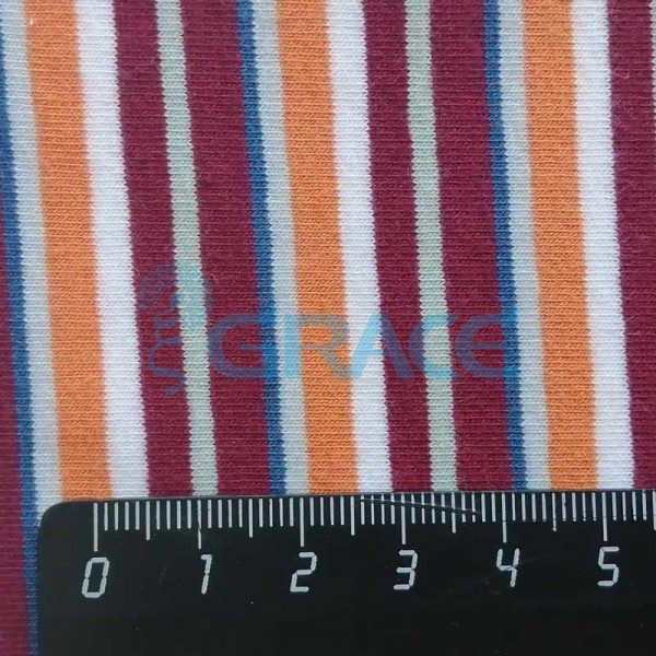 Кулирка MSL 1205 - ткань хлопковая трикотажная, полоса 4 цвета: красный, оранжевый, синий, белый