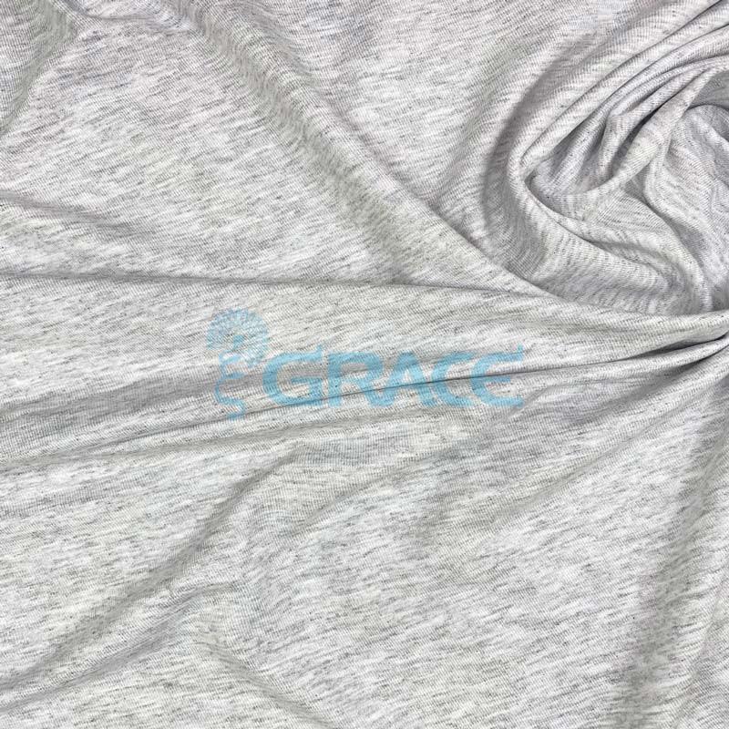 Кулирка джерси милано - ткань трикотажная из вискозы, меланж серая струящаяся