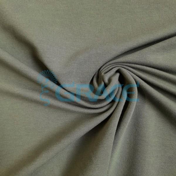 Футер 280 гр. - ткань хлопковая, петельчатая, зеленого оттенка цвета хаки
