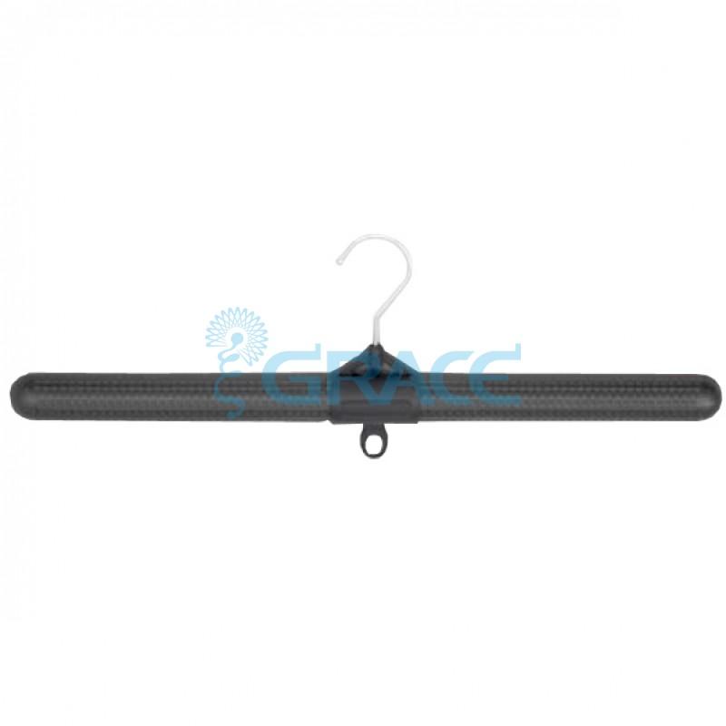 Вешалка для одежды, поворотная, с крючком, 48 см.  (черная)