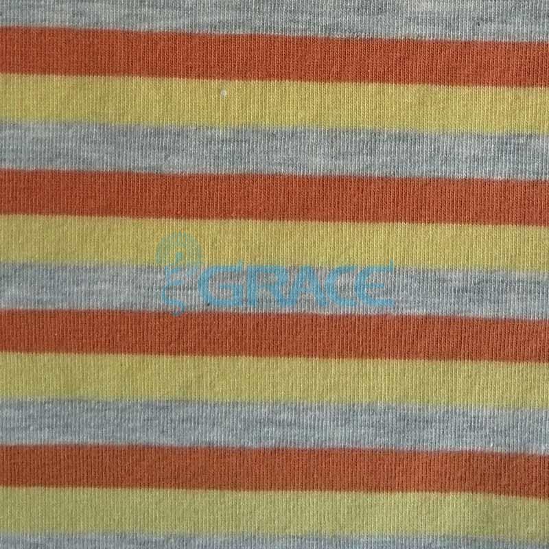 Кулирка MSL 1205 - ткань хлопковая трикотажная, в полоску 3 цвета: серый, желтый, оранжевый