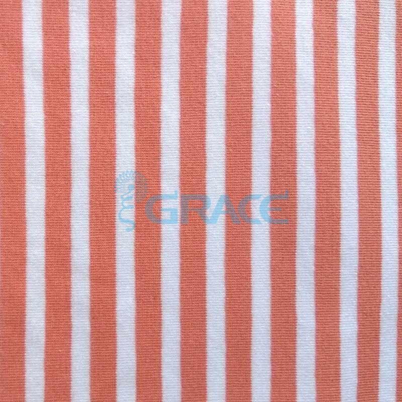 Кулирка MSL 1205 - ткань хлопковая трикотажная, в полоску 2 цвета: коралловый, белый