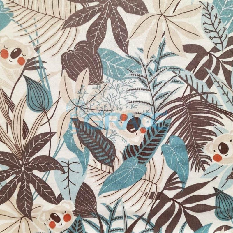 Кулирка джерси - ткань хлопковая трикотажная, с орнаментом джунгли и коала