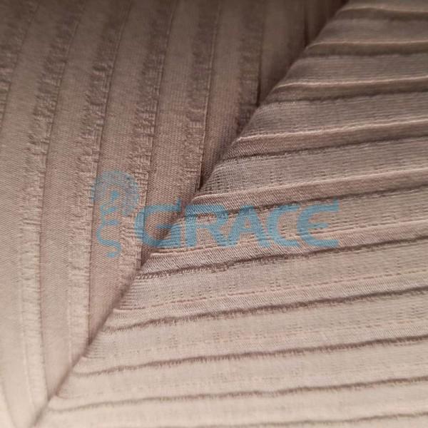 Вискоза - ткань натуральная трикотажная, эластичная с рельефными полосами в цвете латте