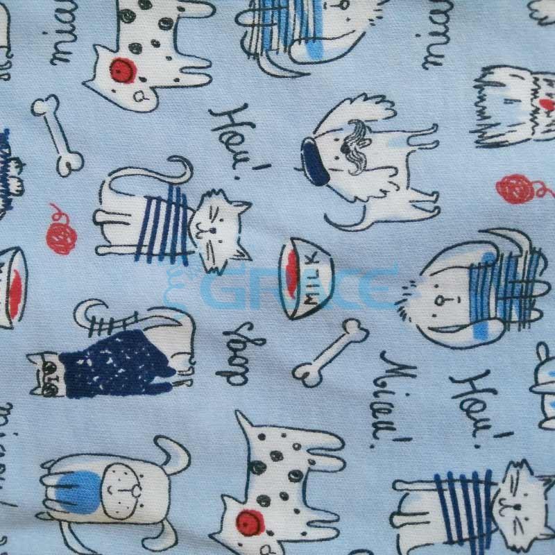 Интерлок Miau! Hou! котики, собачки - ткань хлопковая трикотажная с рисунком