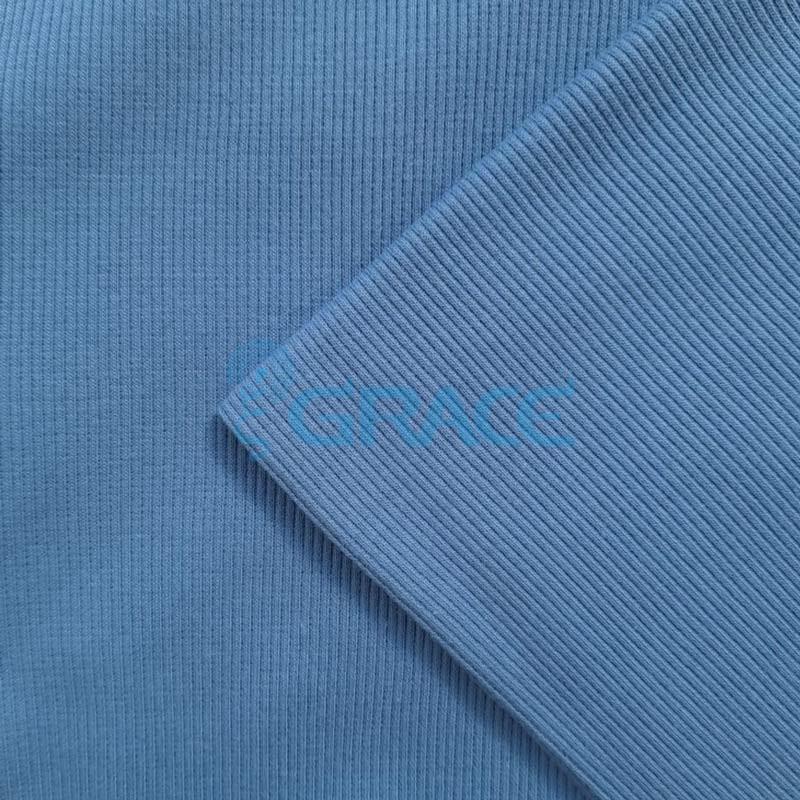Рибана - ткань хлопковая трикотажная, с рубчиком в темно-голубом цвете