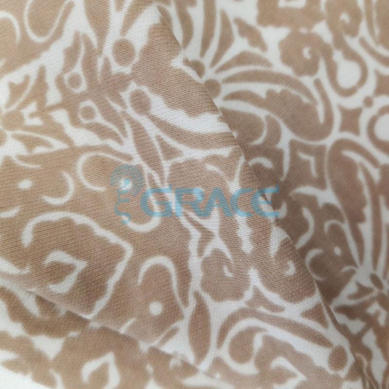 Интерлок бежевого оттенка - ткань хлопковая трикотажная с принтом графика