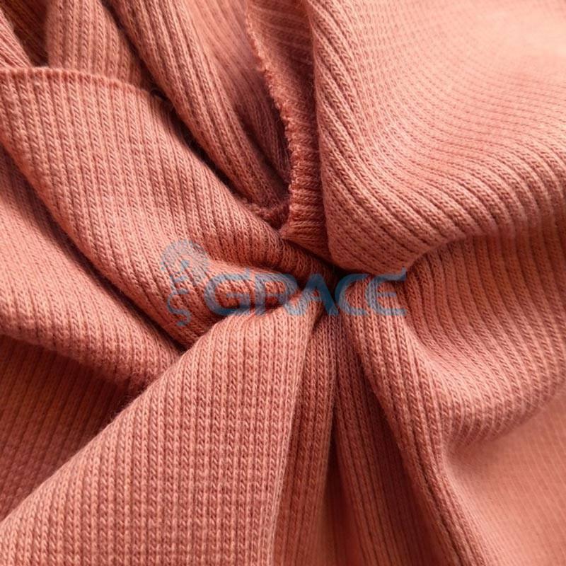 Рибана - ткань хлопковая трикотажная, с рубчиком в терракотовом цвете