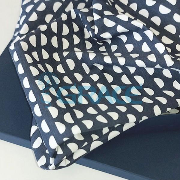 Кулирка джерси - ткань хлопковая трикотажная, синяя с повторяющимися полукругами