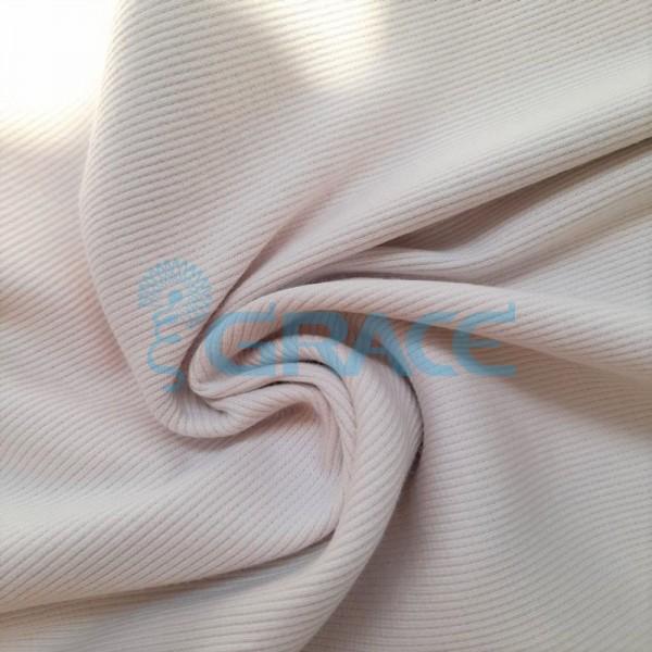 Рибана - ткань хлопковая трикотажная, с рубчиком в цвете жемчуг