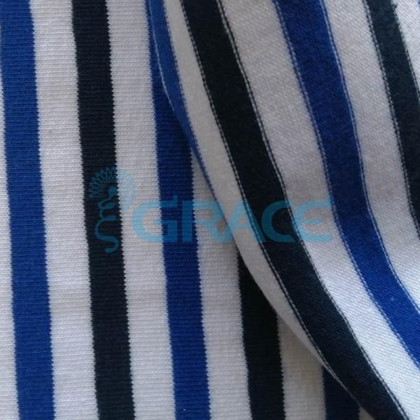 Кулирка MSL 1205 - ткань хлопковая трикотажная, полоса 3 цвета: светло- и темно-синий, белый