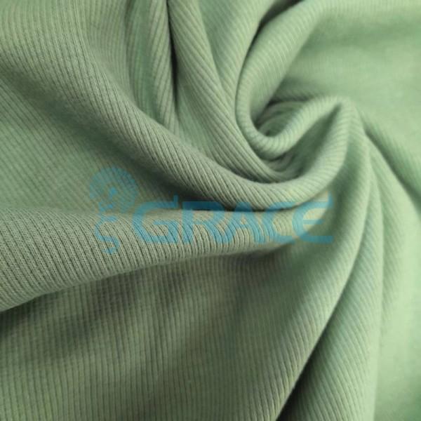 Рибана - ткань хлопковая трикотажная, с рубчиком в зеленом цвете
