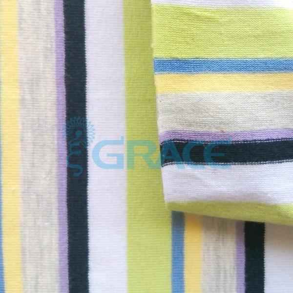 Кулирка MSL 1205 - ткань хлопковая трикотажная, полоса 6 цветов: зеленый, синий, желтый, серый, сиреневый, черный, белый