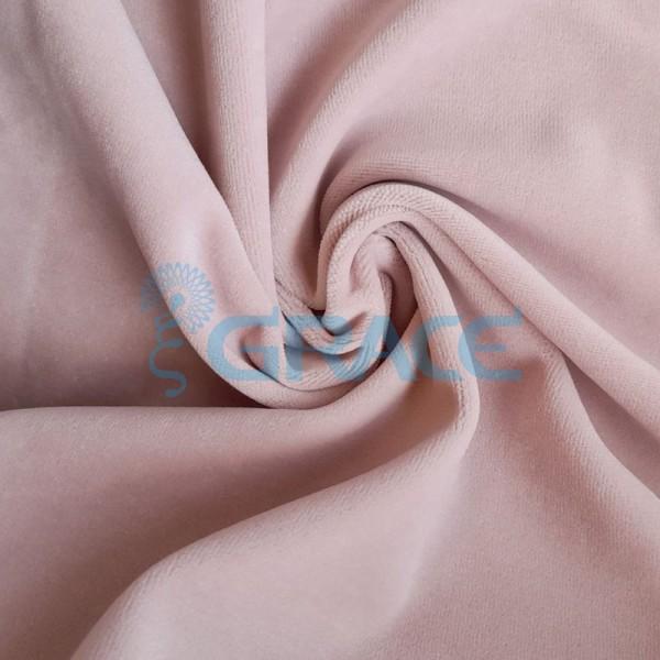 Ткань велюр - натуральная трикотажная, эластичная в светлом нежном оттенке розового