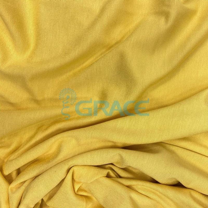 Кулирка милано - ткань трикотажная из вискозы, лимонно-желтая струящаяся