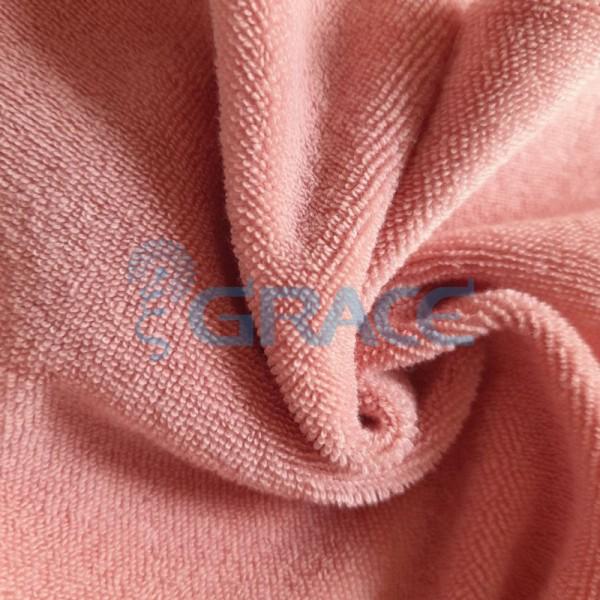 Ткань махра - натуральная хлопковая трикотажная петельчатая, в розовом цвете