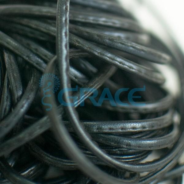 Кожаный шнур плоский 5 мм. со строчкой, экокожа (черный)