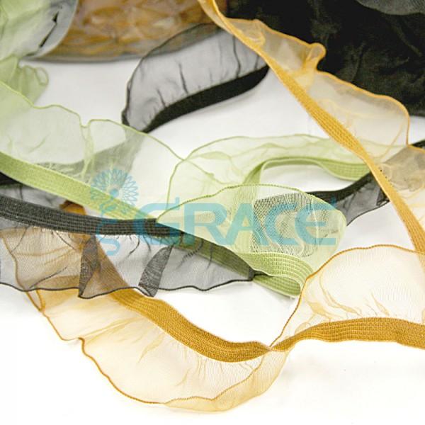 Декоративная резинка-рюш с органзой GumNk208