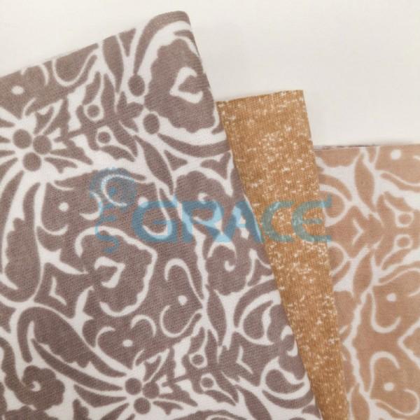 Интерлок коричневого оттенка - ткань хлопковая трикотажная с принтом графика