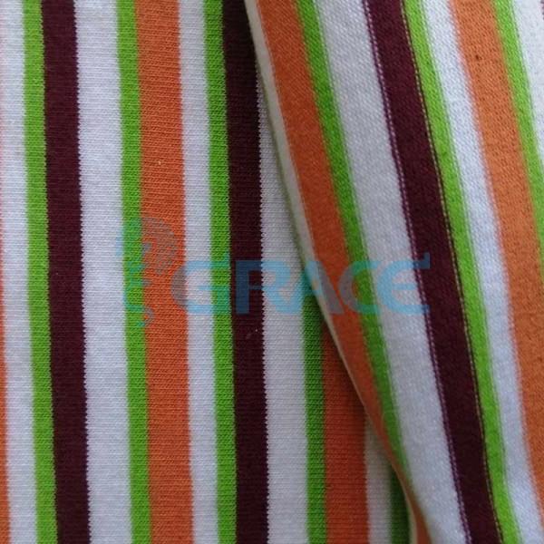 Кулирка MSL 1205 - ткань хлопковая трикотажная, полоса 4 цвета: фиолетовый, оранжевый, зеленый, белый
