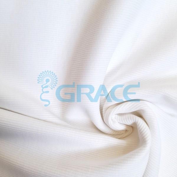 Рибана - ткань хлопковая трикотажная, с рубчиком в белом цвете