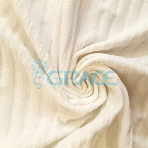 Вискоза - ткань натуральная трикотажная, эластичная с рельефными полосами в цвете экрю (слоновой кости)
