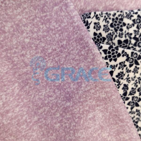 Интерлок лилового цвета - ткань хлопковая трикотажная с принтом меланж
