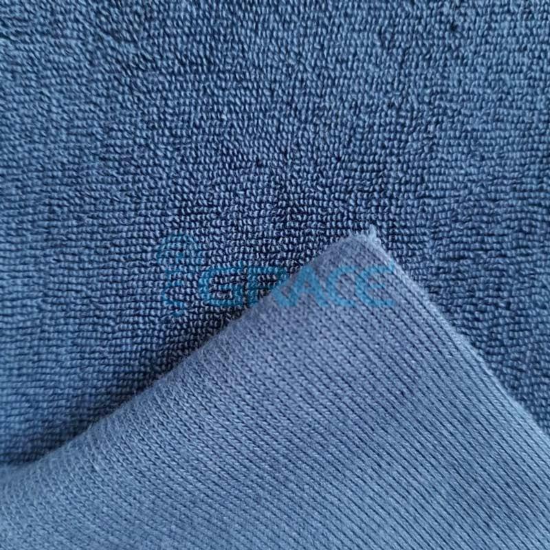 Ткань махра - натуральная хлопковая трикотажная петельчатая, в синем цвете