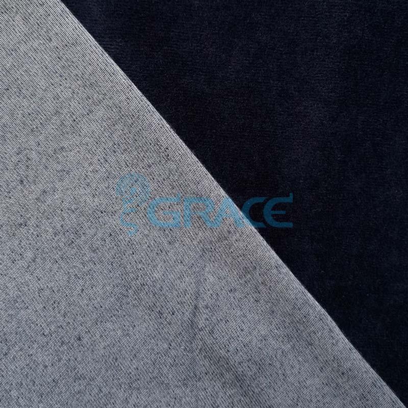 Ткань велюр - натуральная трикотажная, эластичная в темно-синем цвете