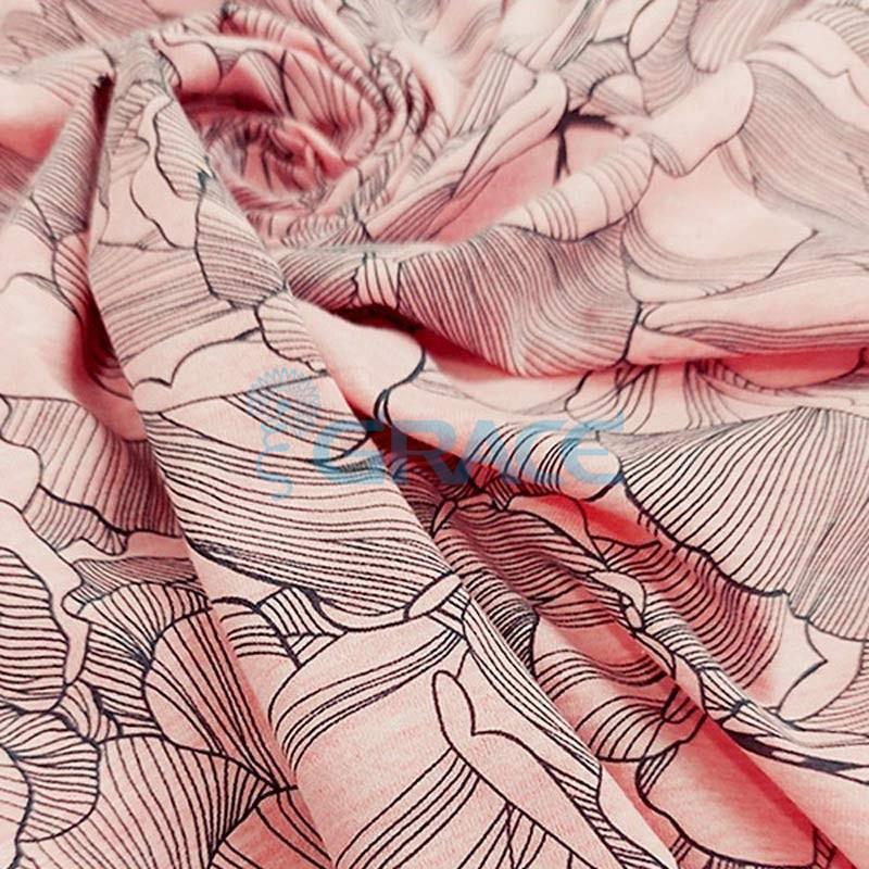Кулирка - ткань хлопковая трикотажная, розовая с узором цветы, лепестки