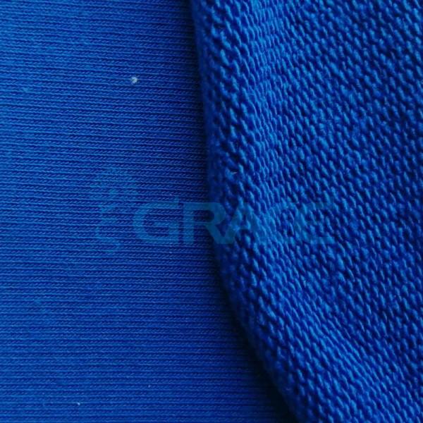 Футер MD 3600 - ткань хлопковая двухсторонняя с петельками, синяя