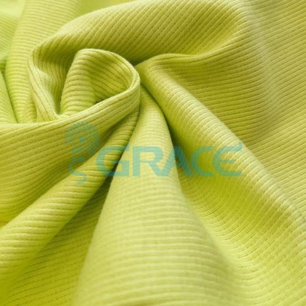 Рибана - ткань хлопковая трикотажная, с рубчиком в лимонном цвете