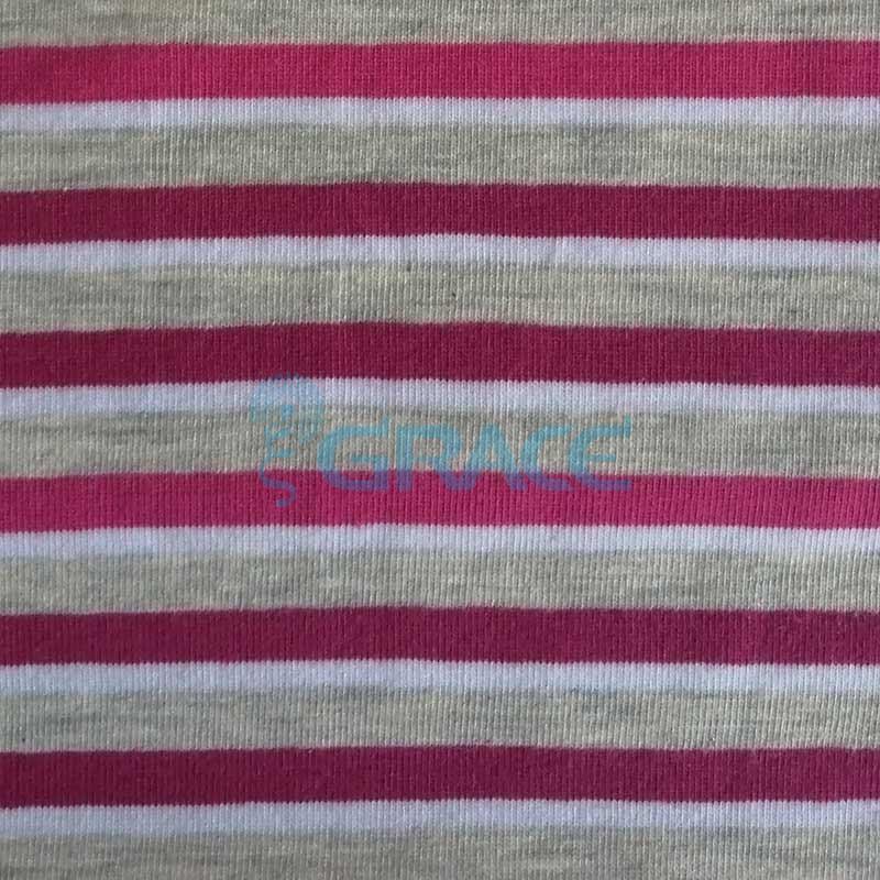 Кулирка MSL 1205 - ткань хлопковая трикотажная, в полоску 3 цвета: серый, малиновый, белый