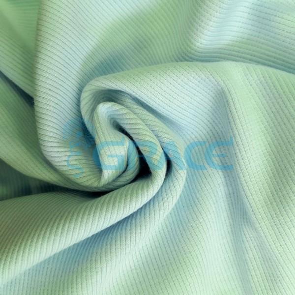 Рибана - ткань хлопковая трикотажная, с рубчиком в мятно-синем цвете