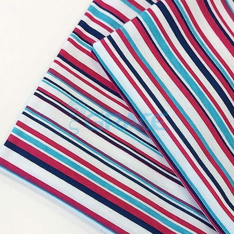 Кулирка джерси - ткань хлопковая трикотажная, белая в полоски трех цветов