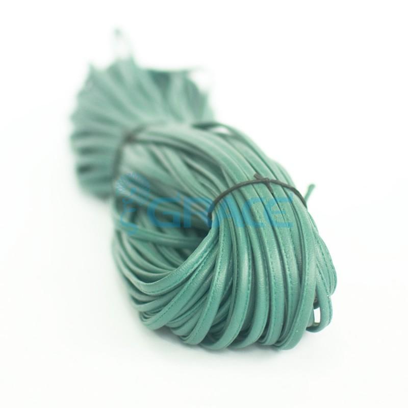 Кожаный шнур плоский 5 мм. со строчкой, экокожа (зеленый)