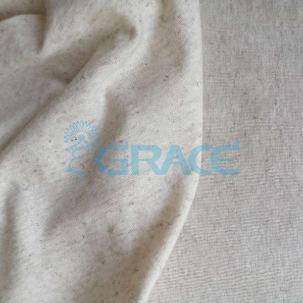 Кулирка GVS204 Konopie - ткань хлопковая с добавлением конопли трикотажная, меланж экрю