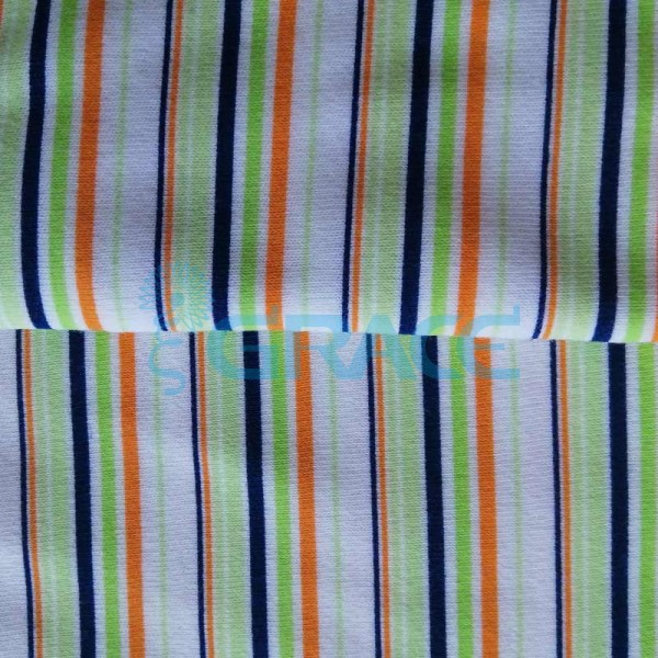 Интерлок цветные полоски - ткань хлопковая трикотажная с рисунком