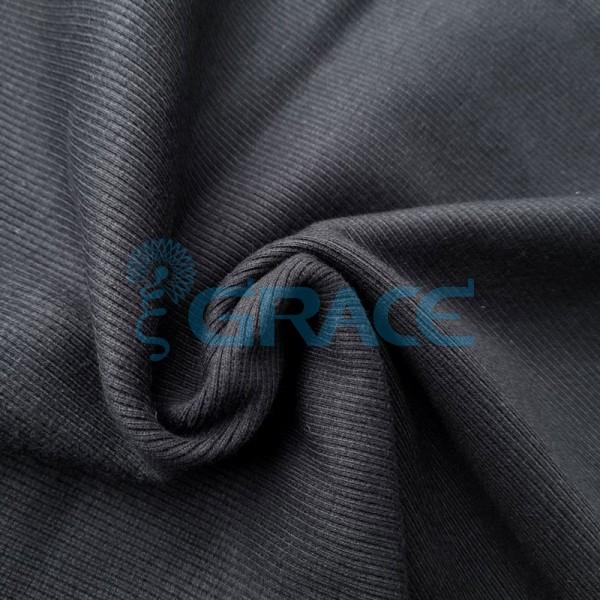 Рибана - ткань хлопковая трикотажная, с рубчиком в черном цвете