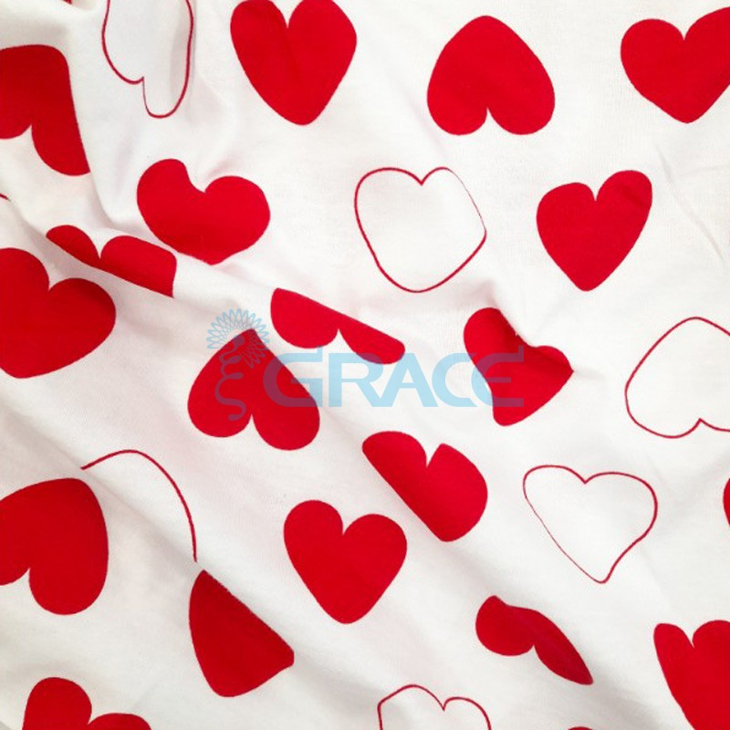 Кулирка джерси - ткань хлопковая трикотажная, белая с орнаментом контурные сердца