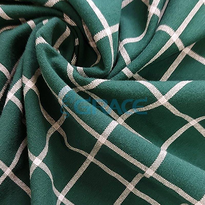 Футер 280 гр. - ткань хлопковая, петельчатая, зеленый фон с белой клеткой