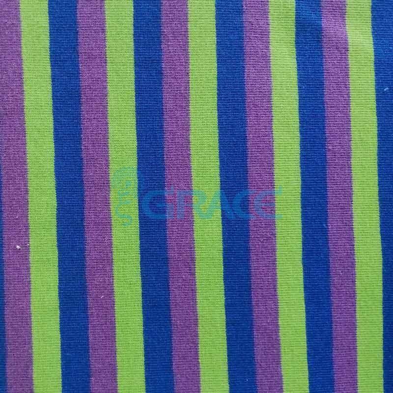 Кулирка MSL 1205 - ткань хлопковая трикотажная, в полоску 3 цвета: зеленый, синий, фиолетовый