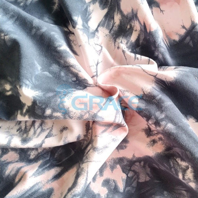 Кулирка tie-dye - ткань хлопковая трикотажная, с узором тай-дай розово-черного цвета