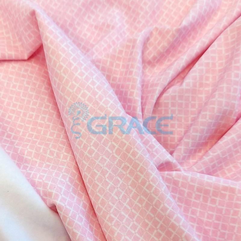 Кулирка джерси - ткань хлопковая трикотажная, розовая с орнаментом белый квадрат